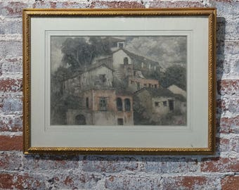 Xavier Martinez - Pueblo Village c1900s - original Painting