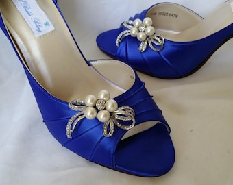 Blue Wedding Shoes Blue Bridal Shoes with Pearl and Crystal Bow -100 Additional Colors To Pick From