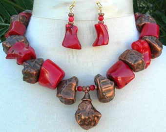 Coral & Copper Nuggets, Unusual Chunky Choker, Necklace Set by SandraDesigns