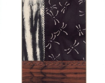 Dragonfly Batik Arashi Shibori Mini Crazy Quilt Patchwork Collage Textile Art