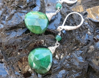 Emerald briolette earrings.