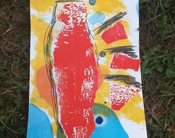 Lobster,Mixed Medida Index Card Mini Painting