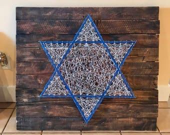 Rustic Star of David Pallet String Art