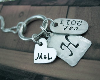 Personalized Hand Stamped Sterling Silver Necklace Sealed with a Ring