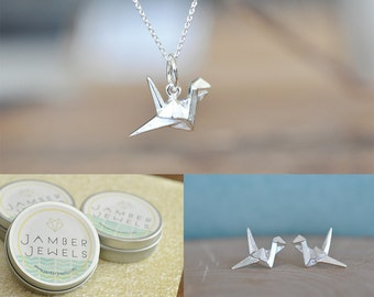 SET***Origami Crane Necklace and Earrings, Matching Set, Jamber Jewels 925 ***SET***
