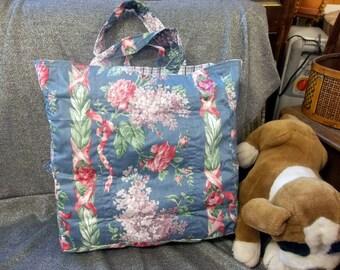 Cotton Shopping Tote Bag, Red Hydrangea Stripes Blue Print