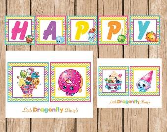 Shopkins Happy Birthday Banner, Instant Download, DIY