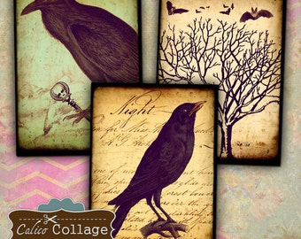 Gothic Ravens Digital Collage Sheet 2.5x3.5 ATC Size Printable Download Edgar Allen Poe Decoupage Paper Gift Tags Jewelry Holder