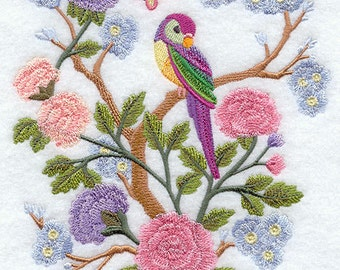 Pastel Bird Scene Rosella Embroidered Flour Sack Hand/Dish Towel