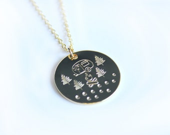Camping necklace, happy camper, stamped jewelry, disc necklace, outdoors theme necklace, rustic, minimalist, every day wear