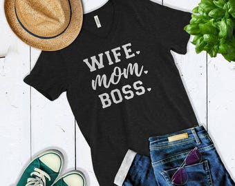 Wife Mom Boss Shirt - Gift For Wife - Cute Christmas Gift For Mom - Mom Life T Shirt - Ladies Vneck Shirt
