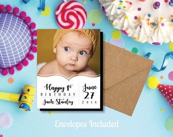 Oh So Cute Birthday Photo Magnets, personalized, photo magnets, party favors, happy birthday, 1st birthday, birthday invite + Envelopes