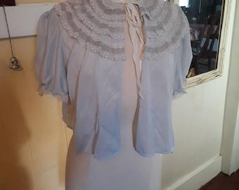 Vintage, Pale Blue, Lacey, Bed Jacket