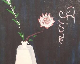 Flower in Vase, Babies breath, Black background, Italian print, Archival ink Giclee, handmade,