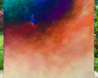 """Javier Lopez Barbosa - 36 x 30 - """"Flowing Peace"""" Original Oil Painting"""