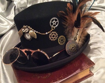 Top Hat, Black Top Hats, Steampunk, Steampunk Hats, Fantasy Hats, Gears, Steampunk Costume, Michanical, Cosplay, Unisex