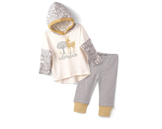 Baby Boy Outfit, Newborn Baby Hoodie Romper, Infant Boy Hooded Romper, Baby Hoodie, Thanksgiving Baby, Fall, Forest, Animals, Tesa Babe