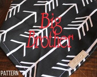 Big Brother or Big Sister bandana- ANY fabric from the shop!  Tie Bandana Snap Bandana FREE SHIPPING!