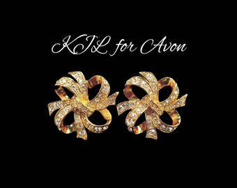 KJL for AVON Rhinestone & Gold Earrings, Ear Climbers, Rhinestone Earrings, Maid of Honor Bridesmaid Earrings, Mothers Day Gift For Her