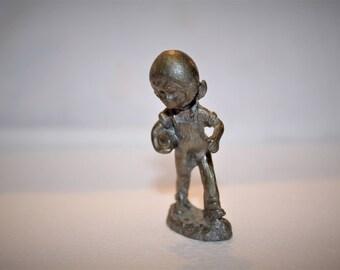 Vintage Pewter Miniature Football Player