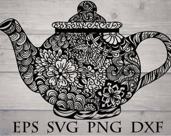 Teapot mandala svg / teapot zentangle svg / intricate svg file / flourish svg file / kitchen mandala svg / zentangle kitchen / cricut design