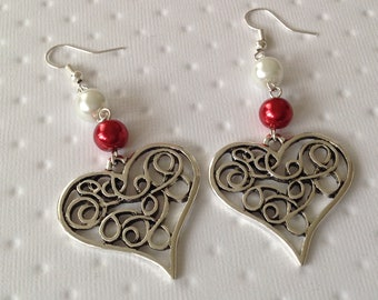 Heart Earrings with two purple and Red enamel beads