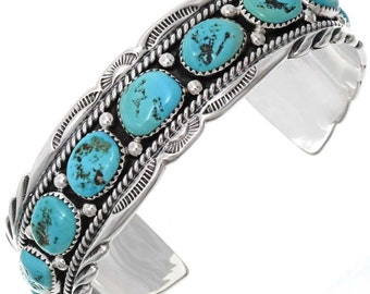 Native American Turquoise Navajo Nugget Bracelet Silver Cuff