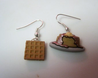 Earrings Mix and Match Collection Stack of Pancakes and Waffle Dangle Style Shown