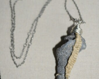 Necklace Shell & Hemp Pendant, Shell Necklace, Wire Wrapped Shell with Hemp on Long Chain, Hand Made Necklace Shell off Ponte Vedra Beach FL