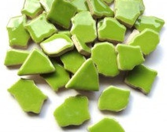 Jigsaw Mosaic Tiles - Bright Green 100g (3.5 oz)