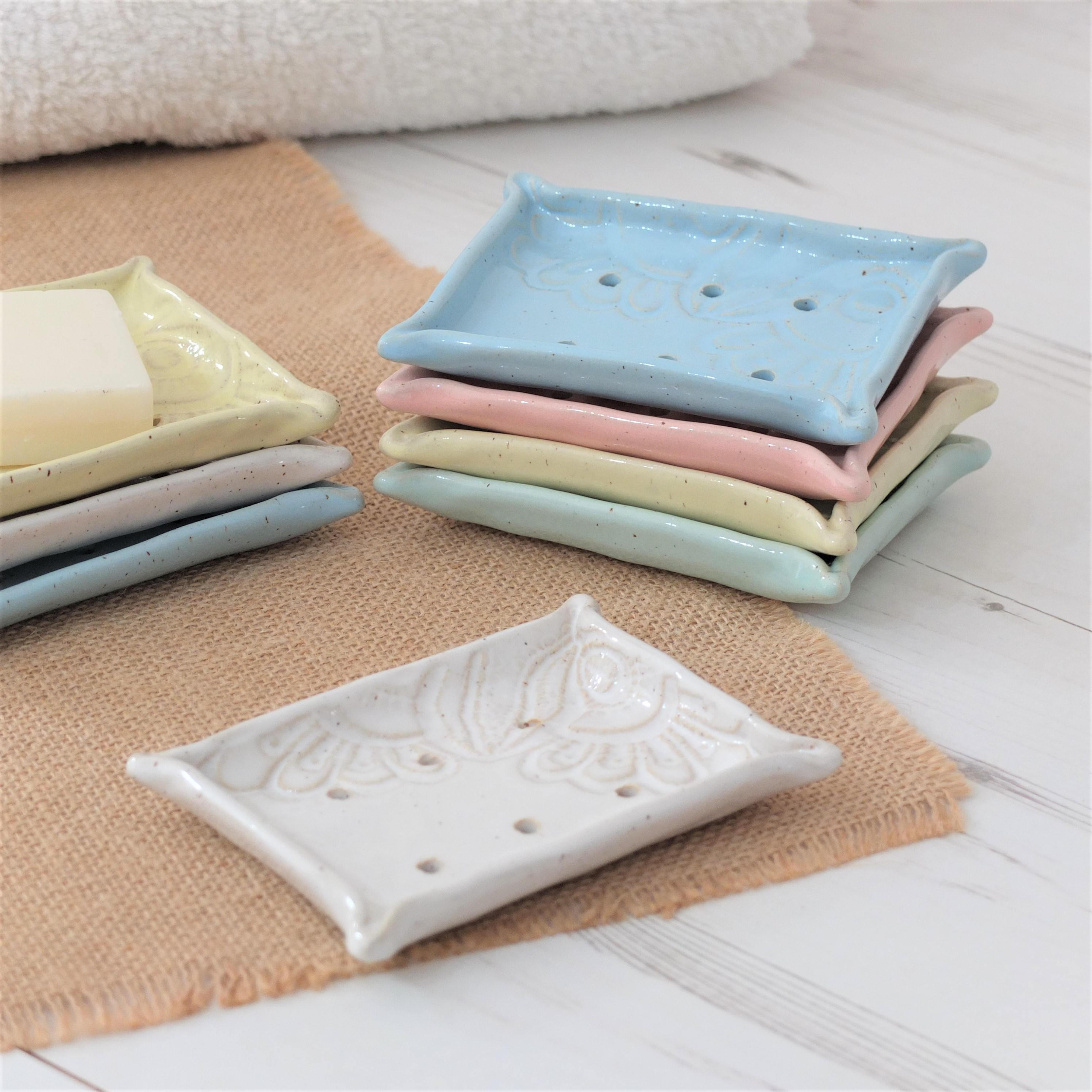 Handmade ceramic soap dish vintage lace pastels bathroom - Ceramic soap dishes for bathrooms ...