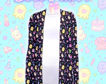 "Black ""OctoParty"" Cardigan"