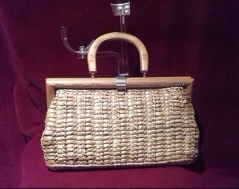 1950s Basket Bag / Fully lined with a inside pocket