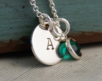 Small Flat Initial Tag Necklace / Personalized Sterling Silver Hand Stamped Necklace with Birthstone / Bridesmaid necklace
