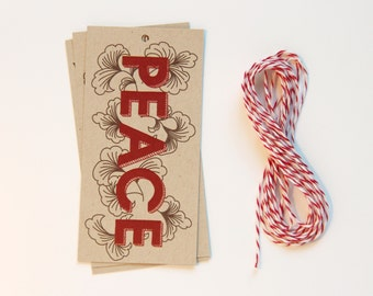 10 Peace Hand Illustrated Holiday Gift Tag Set with Baker's Twine