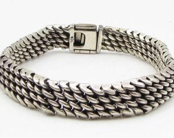 Vintage 925 sterling silver - chain mail detail 10mm tennis bracelet - b1029