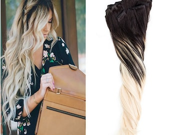 Ombre Balayage Human Invisible Hair Extensions Clip In Hair Extensions    Colour 1b Off Black  Colour 613 Light Blonde
