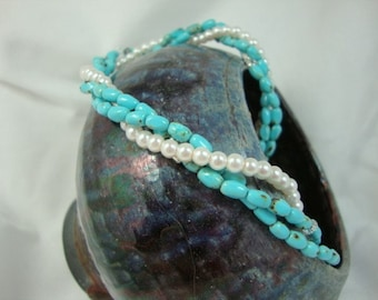 Turquoise Tidepool Necklace with Pearls