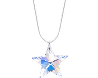 SWAROVSKI Crystal Star Sterling Silver Necklace Pendant in AB