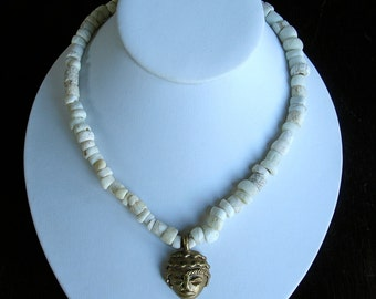 Ethnic Primitive Ancient African Tribal // Venetian White Trade Bead Necklace Lost Wax Hand Cast Brass Mask Pendant - Game of Thrones 17""