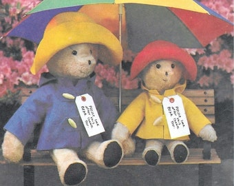"""A Sewing Pattern to Create 2 Sizes of Paddington™ Bear and Clothes: Uncut/Factory-Folded - 13"""" Small Bear & 18"""" Large Bear • Simplicity 8223"""
