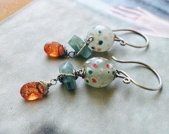 Antique Glass Amazonite & Sunstone Earrings