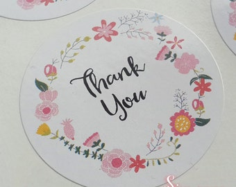 Floral White Gloss Thank You Envelope or Favour Sticker Seals
