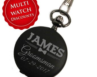 Engraved Pocket Watch, Personalized Pocket Watch, Black Pocket Watch, Groomsmen Gift, Custom Pocket Watch, Pocket Watches For Men