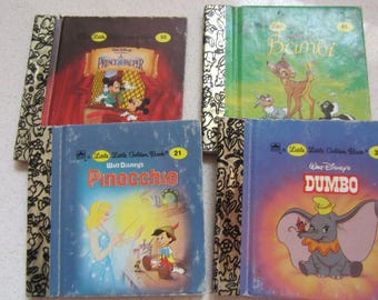 Set of 4 Little Little Walt Disney's Golden Book 1980's Children's Classics: Pinocchio, Dumbo, Bambi and Prince and the Pauper