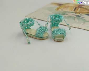 Blythe Momoko DAL Pullip Handmade Boots Shoes (Mint leaf)