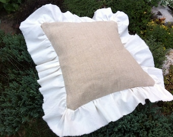 Burlap & Withe Cotton Ruffles Pillow Cover