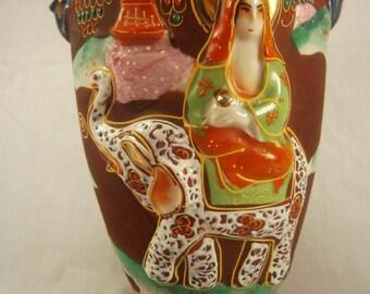 Japanese Moriage Handled Vase / Cobalt Blue Vase / Raised Figure / Relief Embossed Vase / Elephant / Woman and child / Porcelain Vase
