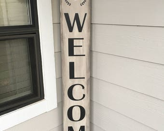 Welcome porch sign personalized with family initial - Farmhouse Style Wood Sign - Porch Sign in Custom Colors - 51.5X7.25  LR-129