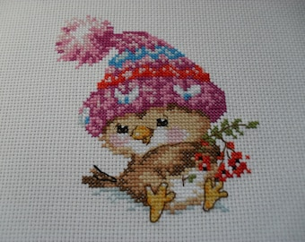 Christmas Cross Stitch FINISHED Winter Bird in Knitted Hat Unframed  Handmade Cross Stitch Finished Embroidery Finished